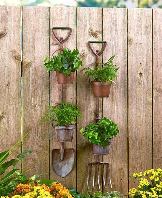 shovel and pitchfork garden planter