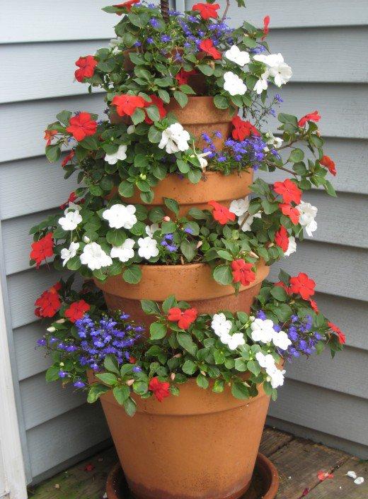 tiered garden pots