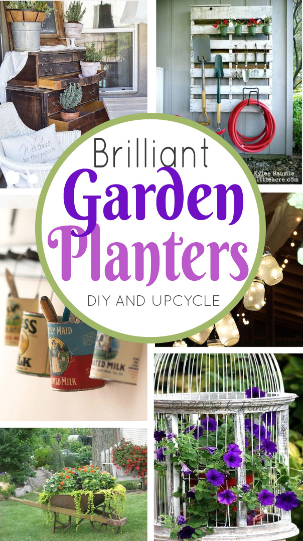 Creative ways to use antiques and vintage accents in the garden. Turn furniture and jars into unique planters -it's a fun way to add interest outside. #garden #antiques #upcycle