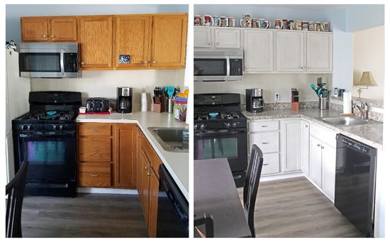 Kitchen makeover on a budget, before and after, DIY Granite counters