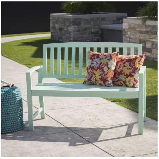 blue garden bench, outside bench