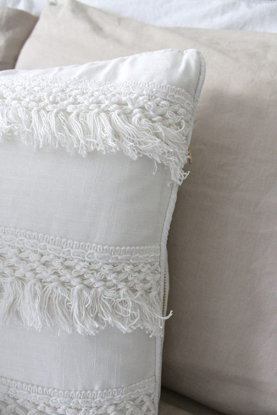 pillows-with-fringe-trim, decorating on a budget