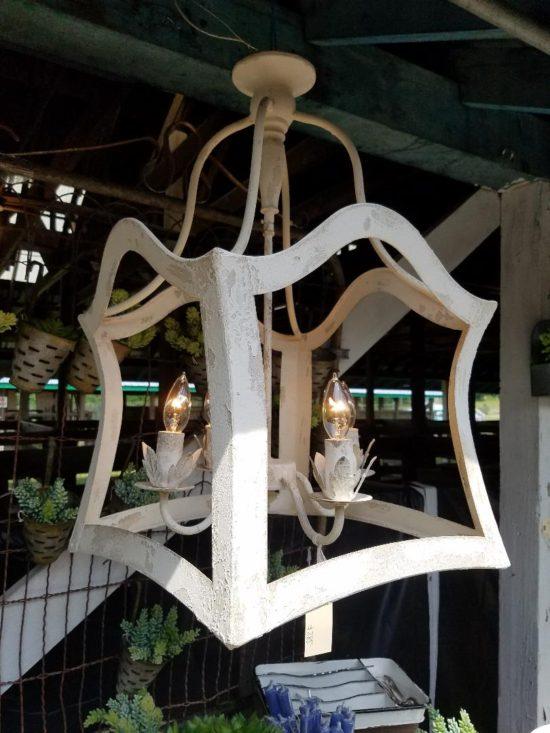 rustic metal lantern in white