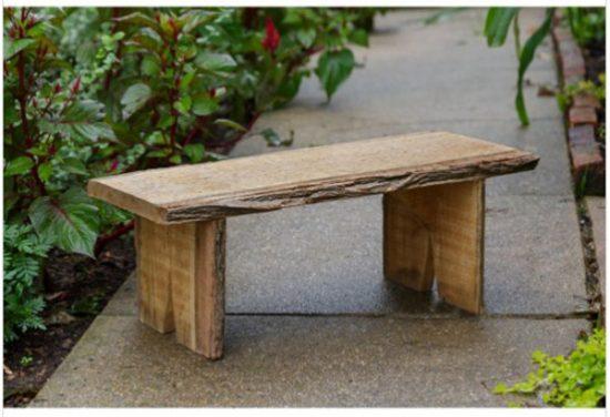 rustic wood outdoor garden bench, wooden bench