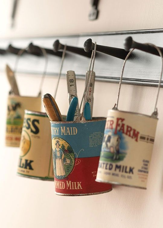 vintage cans, planters and organizers,