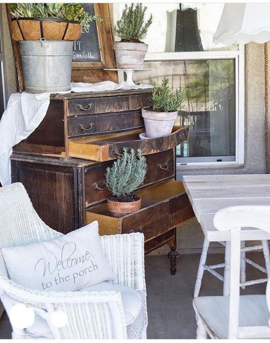 vintage dresser on the porch