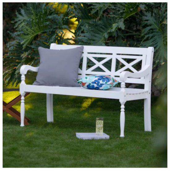 white garden bench X back, patio bench