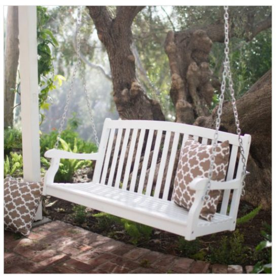 white porch swing bench