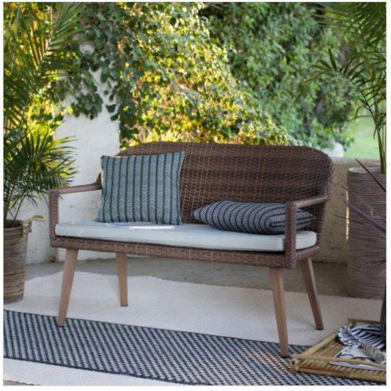 wicker garden bench, garden seats