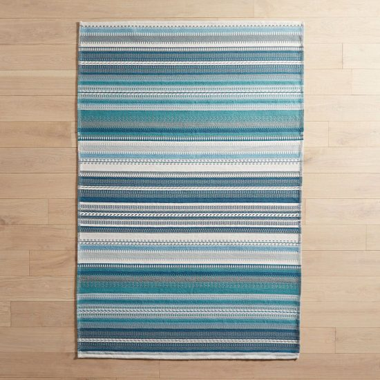 blue striped area rug indoor outdoor use