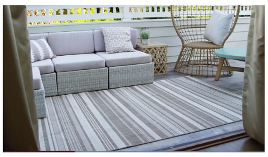 gray striped outdoor area rug