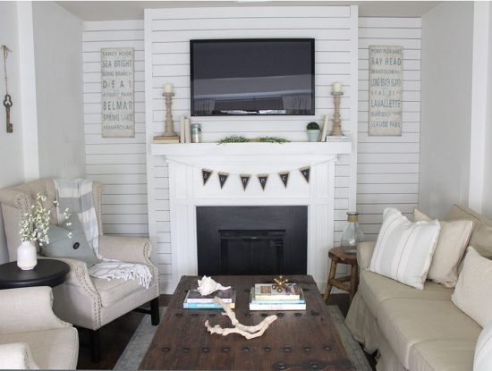 light-living-room-decorating-ideas,-shiplap-fireplace-above-mantel, family room with fireplace and TV above mantel, family room ideas