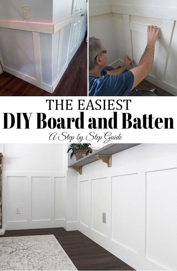 The easiest way to install Board and Batten! This step by step guide is a doable DIY project that is affordable with a few simple tools to help. #molding #DIY #boardandbatten #walls