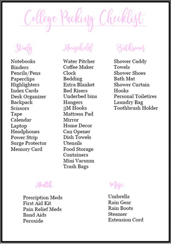 Free printable college packing checklist