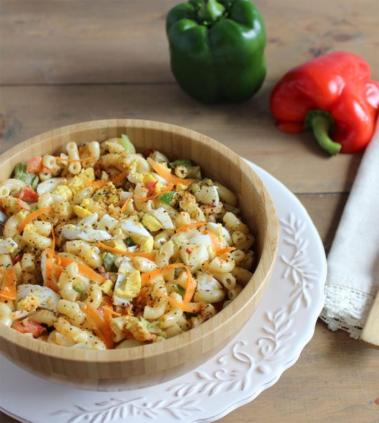 veggie filled macaroni salad recipe with seasonings