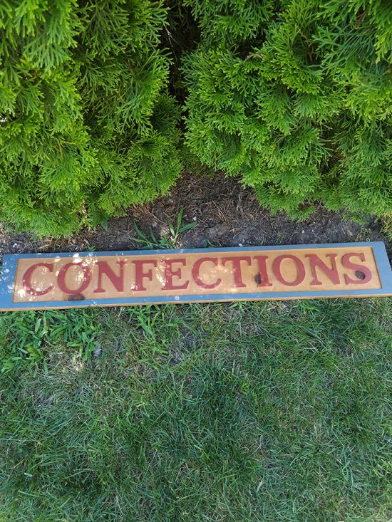 confections sign - Sunday flea market find