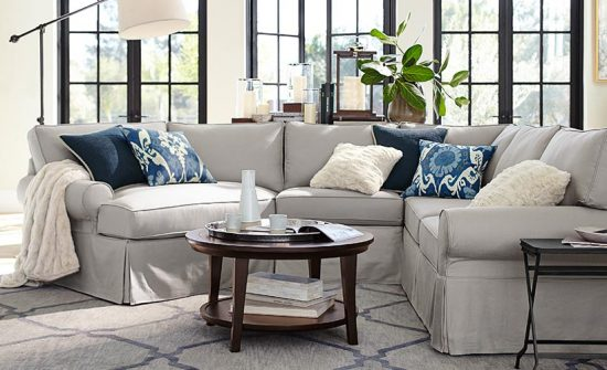 gray slipcovered sectional