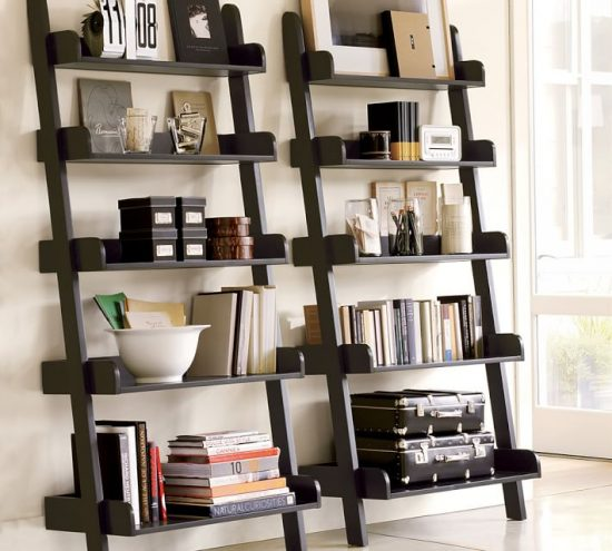 leaning ladder shelf display art