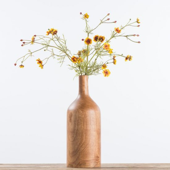 wooden vase with simple stems faux floral arrangements for fall