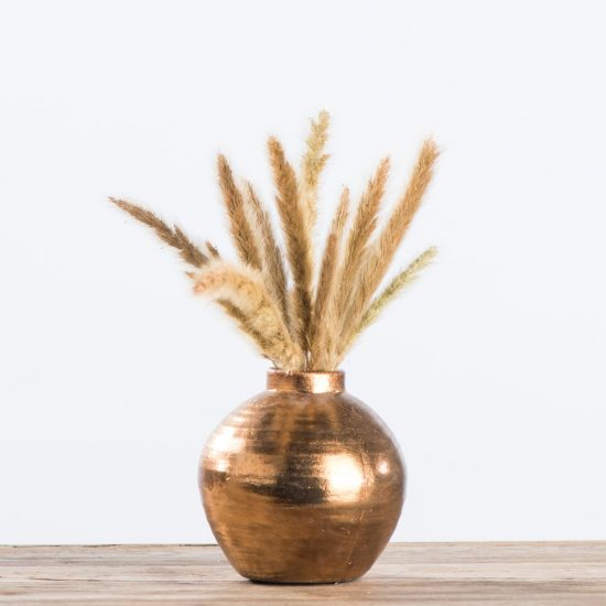 copper vase with wheat sprigs
