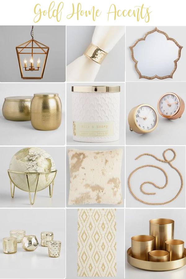 Gold home decor accents for your home, these can really pull a whole room together! PIN