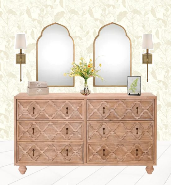 How to style a dresser, 3 ways, muted wallpaper, mirror above dresser, rustic dressers