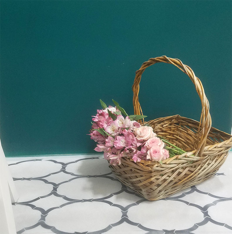 beautiful-teal-paint-color-stenciled-floors