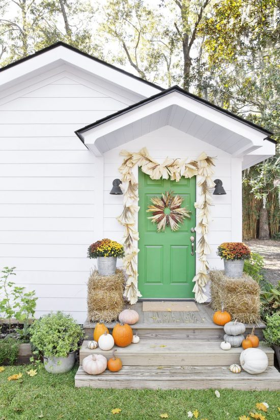 green fall front door