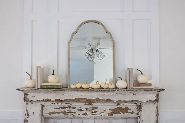Simple Mantel with White Pumpkins