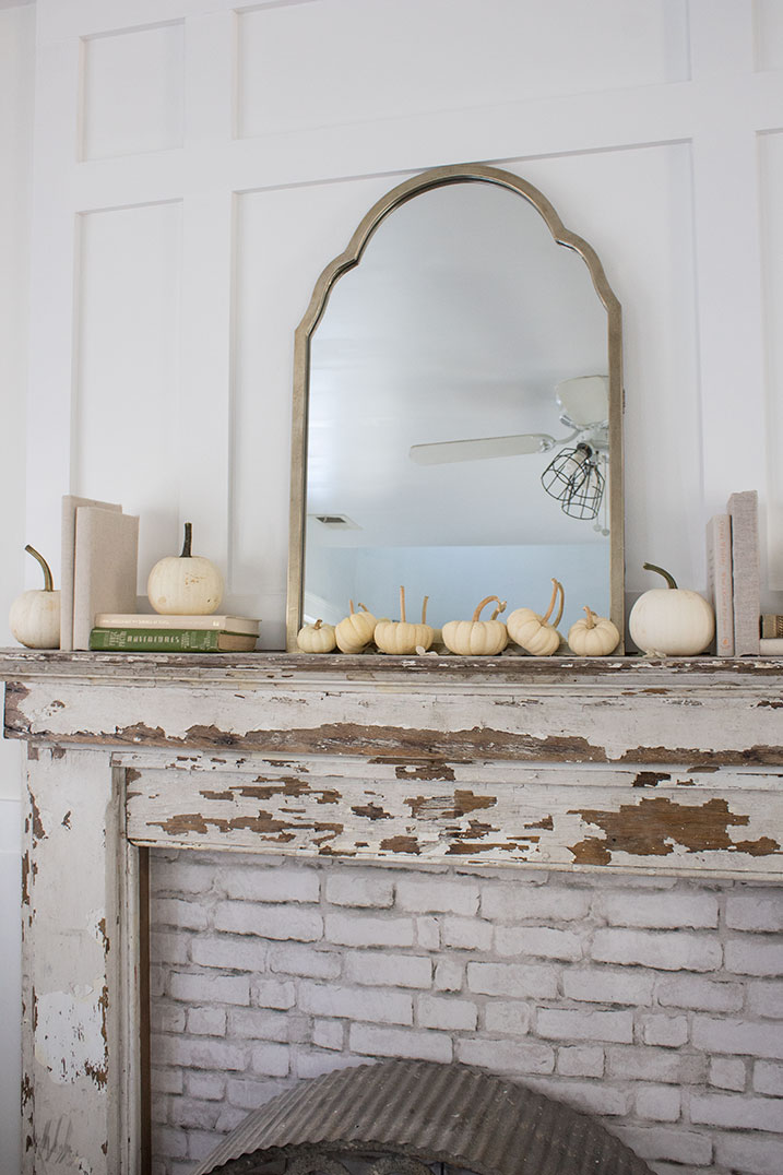 vintage-fall-mantel-decorating-ideas , use mini white pumpkins, budget friendly decorating ideas