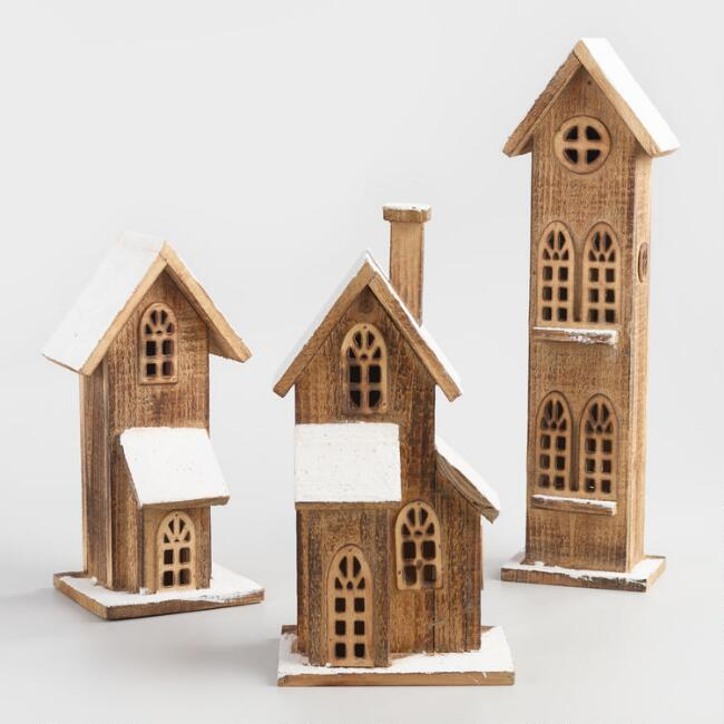 Farmhouse Style Christmas decorations, Wood Christmas Houses