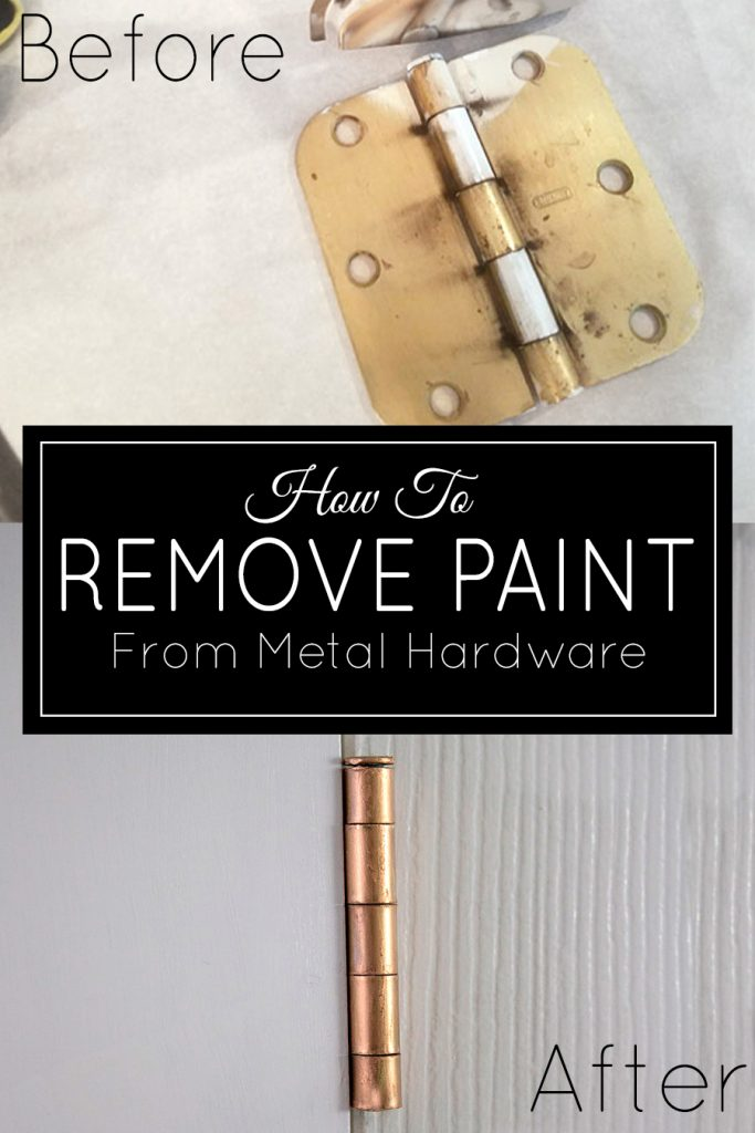 Learn the easiest way to remove paint from metal hardware and hinges. Don't replace them - refinish hardware to make it look fresh and clean!