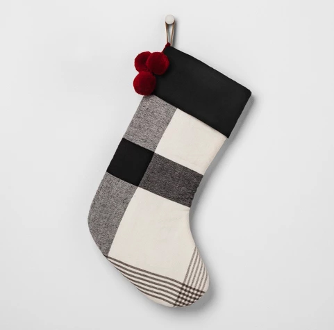 Farmhouse Style Christmas Decorations, Plaid Stockings