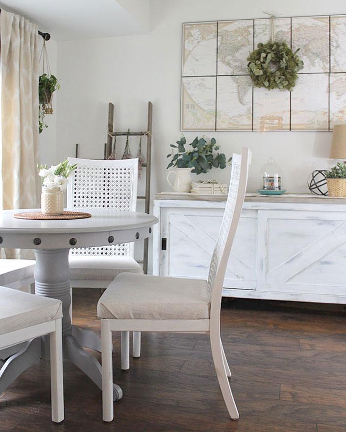 breakfast nook, unique home decorating ideas, nailhead trim diy table