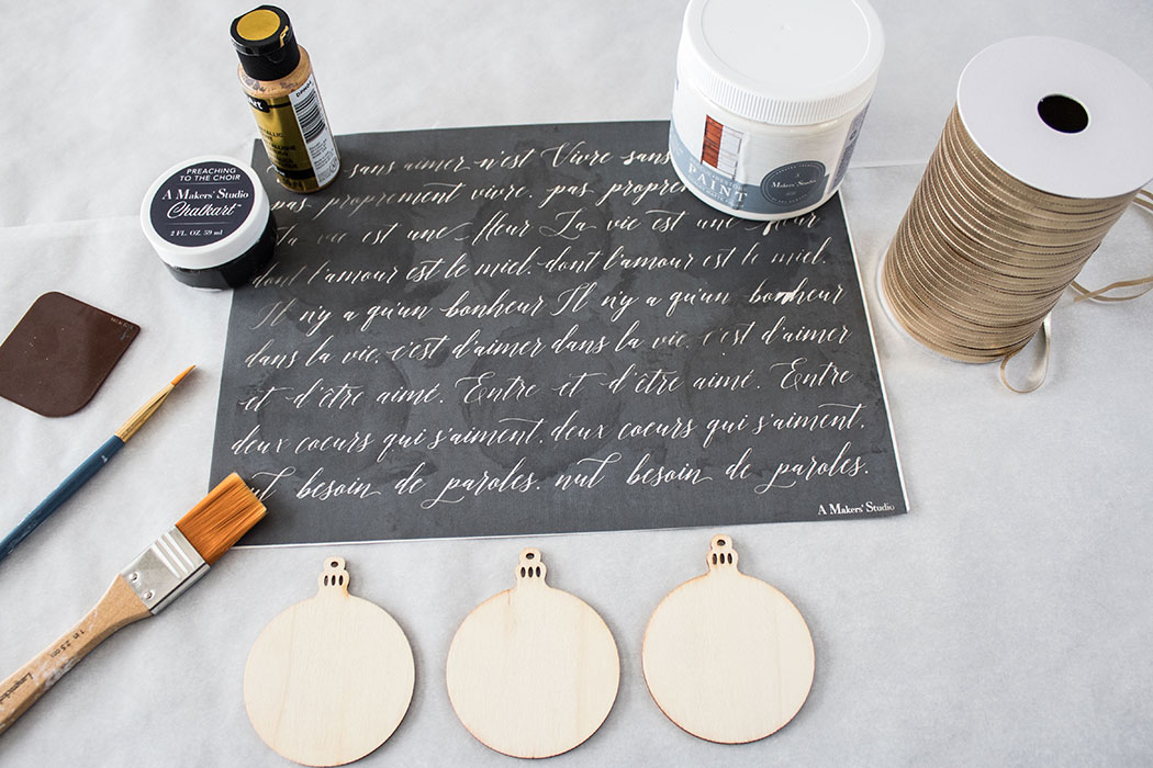 Supplies-needed-to-make-french-script-ornaments