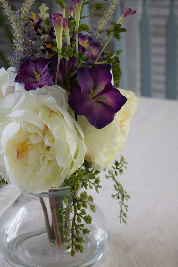 artificial silk flower arrangements for the home that look natural, rose and morning glory-centerpiece-display-floral-arrangement
