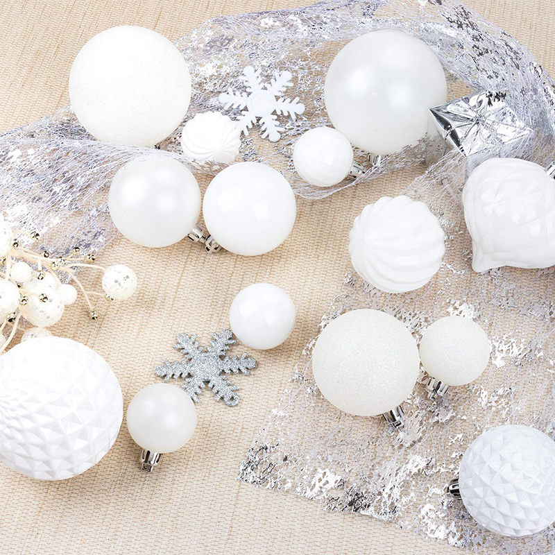 set of white ornaments, winter wonderland Christmas decorating