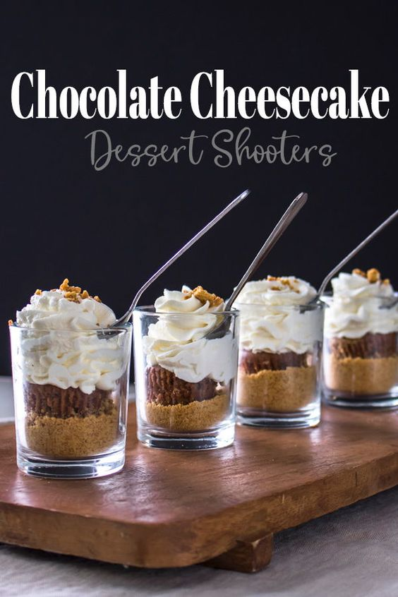 Chocolate Cheesecake Dessert Shooters Recipe. Made with layered cheesecake, chocolate and graham crackers, this dessert is a hit at parties. tried! #desserts#recipes #cheesecake