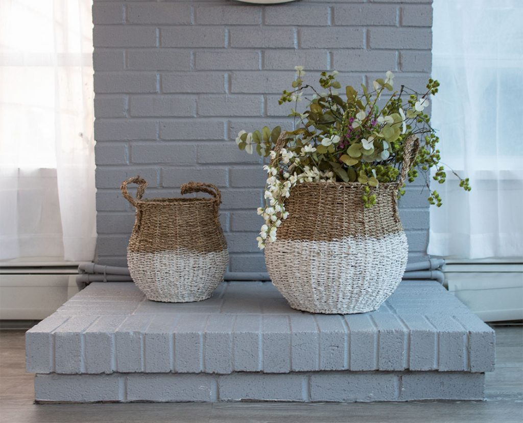 Ideas-for-updating-old-brick,-love-this-fireplace-makeover-with-gray-painted-bricks