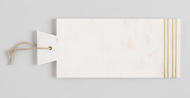 Marble cutting board with brass inlay