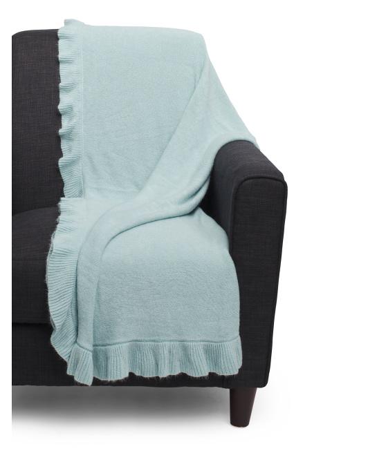 blue ruffled throw blanket