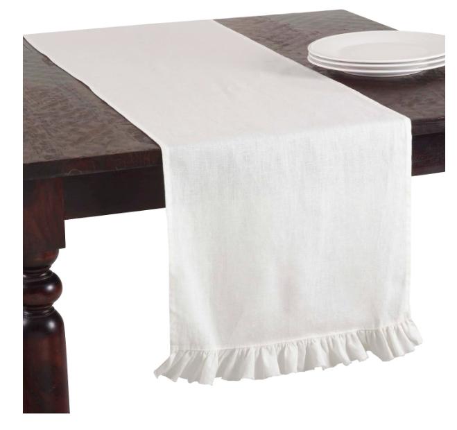 white ruffled table runner