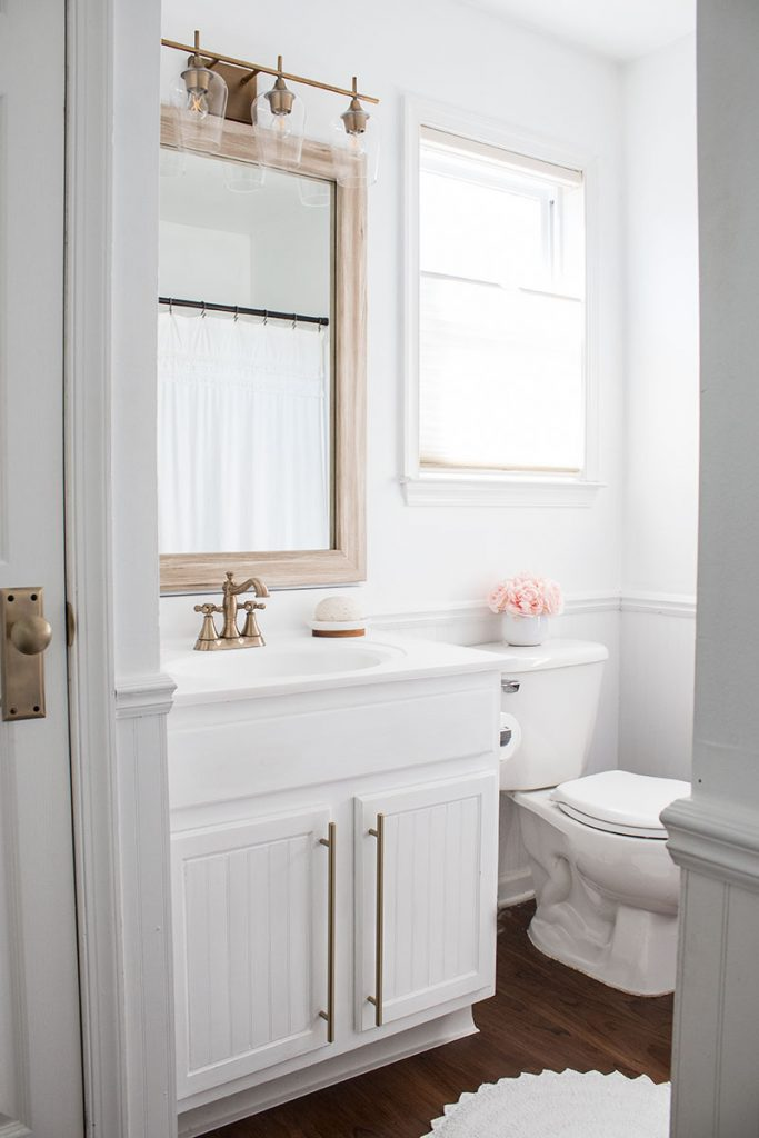 White Bathroom With Brass Accents The Honeycomb Home