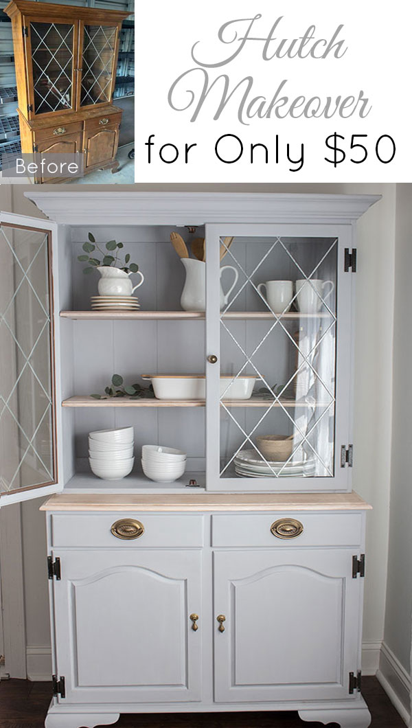 Beautiful-DIY-hutch-makeover-with-chalk-paint-and-natural-wood-