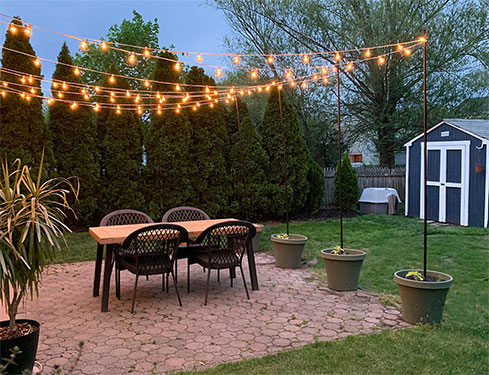 DIY Patio Arbor Using String Lights