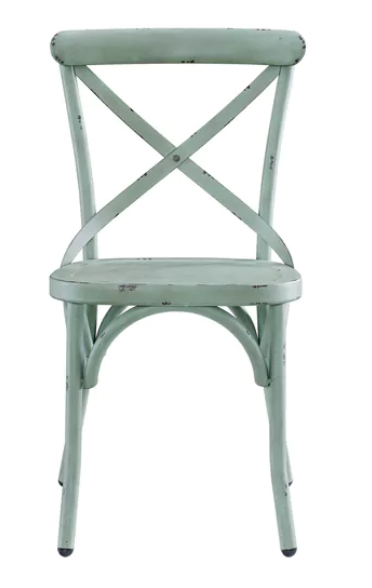 light blue distressed metal dining chair