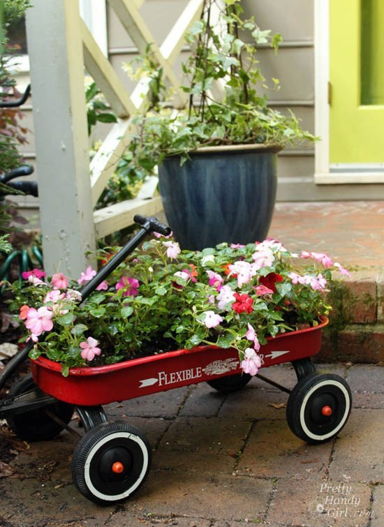 red wagon planter from Pretty Handy Girl
