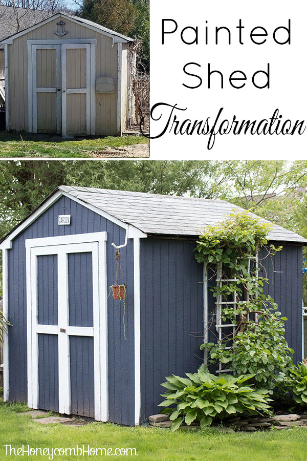 You have to see this dramatic before and after painted shed, great tips for painting outdoor structures, love the dark blue