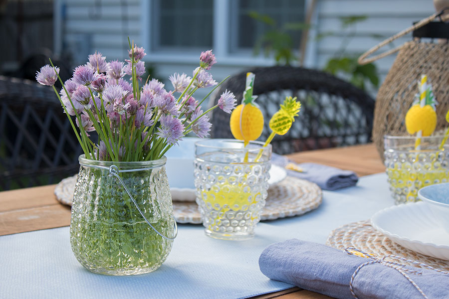 floral display with chives