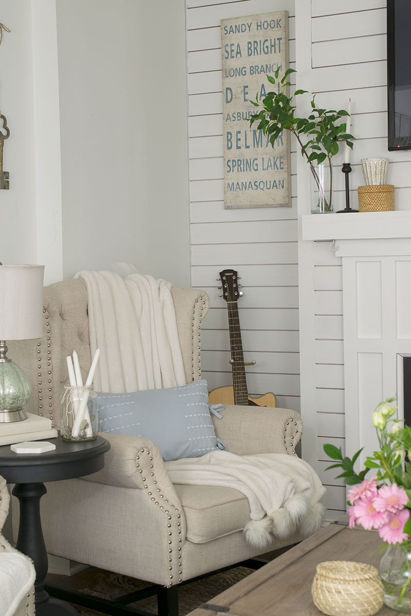 wing back chair neutral living room